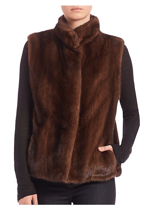 Image of EXCLUSIVELY AT SAKS FIFTH AVENUE. Luxe layering essential in sumptuous mink fur. Stand collar. Sleeveless. Concealed button front closure. Side pockets. Lined. Mink fur. Dry clean. Imported.
