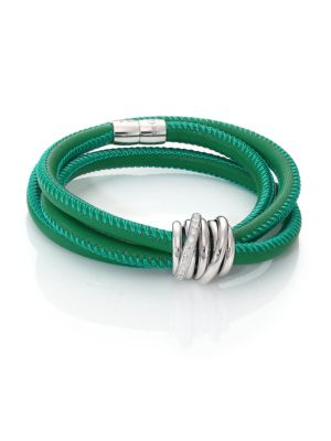 De Grisogono Allegra Diamond 18k White Gold Leather Wrap Bracelet Green