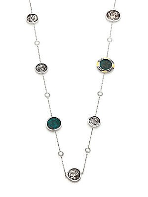 "Image of From the Coin Collection Antiqued coin necklace set with shimmering crystals and diamonds Diamonds, 0.25 tcw Crystal Sterling silver and 20k yellow gold Length, 36"" Lobster clasp Imported. Fine Jewelry - Fine Designer Jewelry. Coomi Silver. Color: Gold Mu"