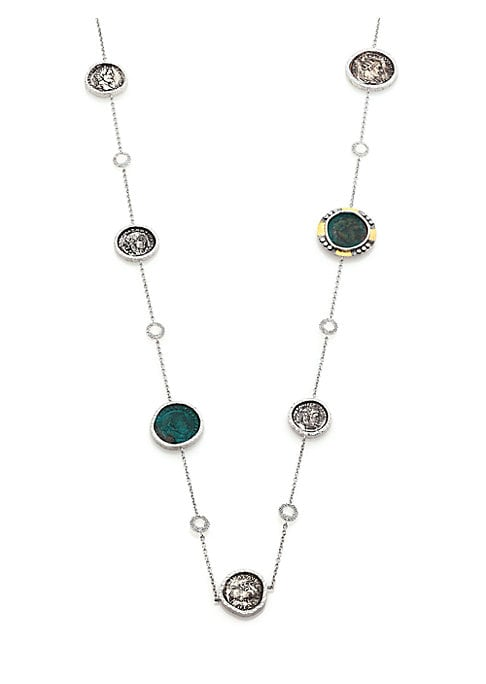 """Image of From the Coin Collection. Antiqued coin necklace set with shimmering crystals and diamonds. Diamonds, 0.25 tcw. Crystal. Sterling silver and 20k yellow gold. Length, 36"""".Lobster clasp. Imported."""