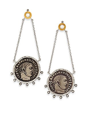 "Image of From the Coin Collection Antiqued coin-inspired design with diamond and crystal detail Diamonds, 0.25 tcw Crystal 20k yellow gold Sterling silver Length, 2.25"" Post back Imported. Fine Jewelry - Fine Designer Jewelry. Coomi Silver. Color: Silver Gold."