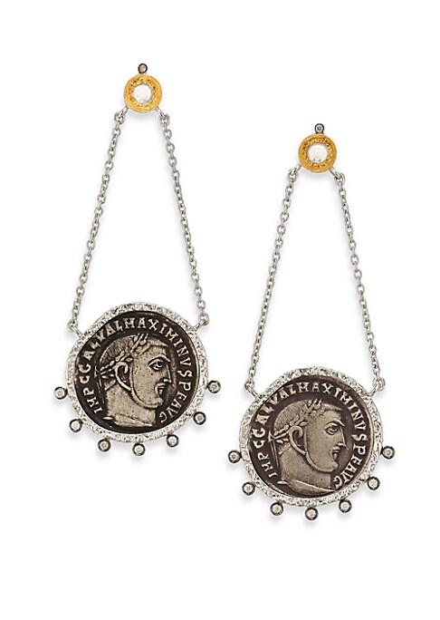 """Image of From the Coin Collection. Antiqued coin-inspired design with diamond and crystal detail. Diamonds, 0.25 tcw. Crystal.20k yellow gold. Sterling silver. Length, 2.25"""".Post back. Imported."""