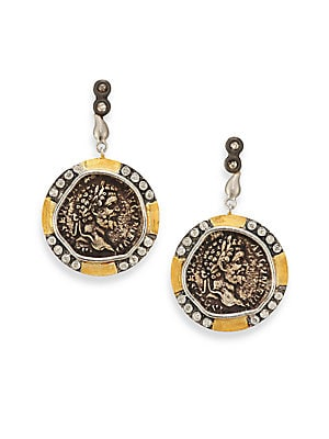 "Image of From the Coin Collection Antiqued coin-inspired design set with full-cut diamonds Diamonds, 0.44 tcw 20k yellow gold Sterling silver Length, 1.5"" Post back Imported. Fine Jewelry - Fine Designer Jewelry. Coomi Silver. Color: Antique Gold."
