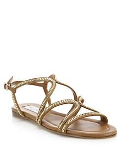 494d35dc8c9 Jimmy Choo Nickel Chain-Trim Leather Sandals