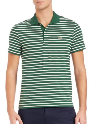 """Image of Refined polo shirt with bright allover stripes. Contrast polo collar. Short sleeves. Two-button placket. Signature embroidery at chest. About 28"""" from shoulder to hem. Cotton. Machine wash. Imported."""