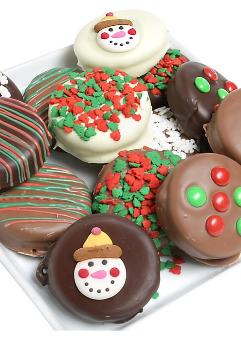 Image of 12 chocolate-coated Oreo? cookies drenched in Belgian chocolate, milk chocolate, white chocolate, and dark chocolate decorated with holiday-themed toppings and candies or drizzled with red and green ribbons. Serves: 12.Covered in Belgian chocolate. Arrive