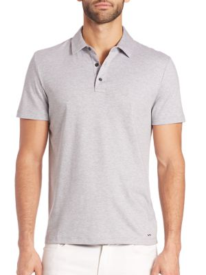 Image of Essential polo in rich cotton. Spread polo collar. Buttoned placket. Short sleeves. Cotton. Machine wash. Imported.