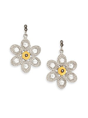 "Image of From the Opera Collection Two-tone floral drop design set with diamonds and crystals Diamonds, 2.34 tcw Crystal 20k yellow gold Sterling silver Length, 1"" Post back Imported. Fine Jewelry - Fine Designer Jewelry. Coomi Silver. Color: Silver Gold."