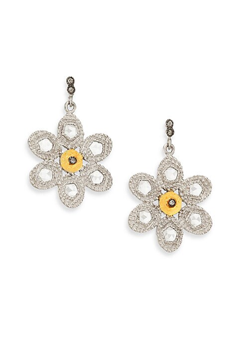 """Image of From the Opera Collection. Two-tone floral drop design set with diamonds and crystals. Diamonds, 2.34 tcw. Crystal.20k yellow gold. Sterling silver. Length, 1"""".Post back. Imported."""