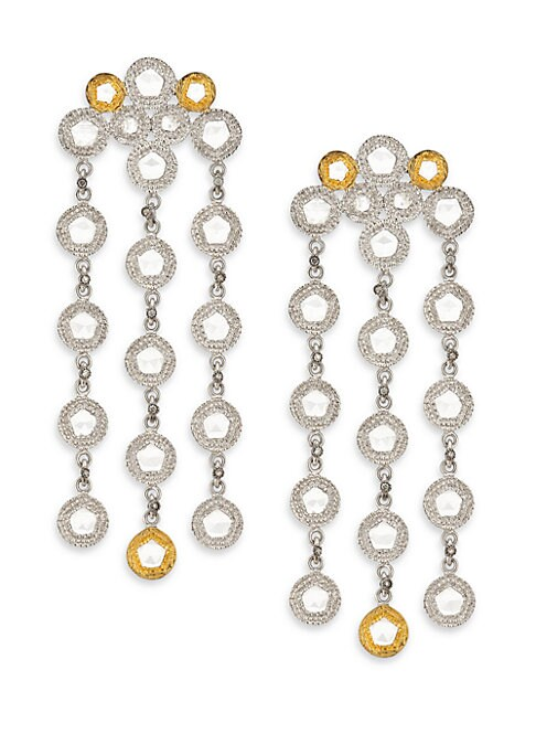 """Image of From the Opera Collection. Stunning two-tone design set with shimmering diamonds and crystals. Diamonds, 0.25 tcw. Crystal.20k yellow gold. Sterling silver. Length, 2"""".Post back. Imported."""