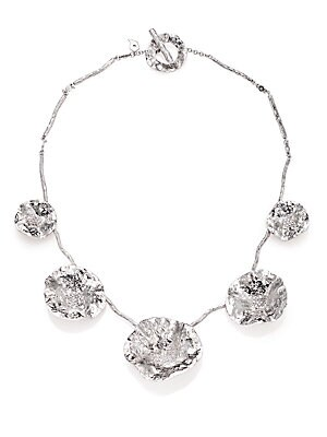 "Image of From the Serenity Collection Abstract floral design set with shimmering full-cut diamonds Diamonds, 0.96 tcw Sterling silver Length, 16"" Toggle clasp Imported. Fine Jewelry - Fine Designer Jewelry. Coomi Silver. Color: Silver."