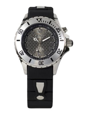 KYBOE! Power Black Silicone & Stainless Steel Strap Watch/40Mm in Black-Silver
