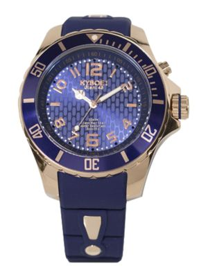 KYBOE! Power Blue Silicone & Rose Goldtone Stainless Steel Strap Watch/48Mm in Navy-Gold