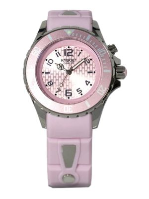 KYBOE! Power Light Pink Silicone & Stainless Steel Strap Watch/40Mm
