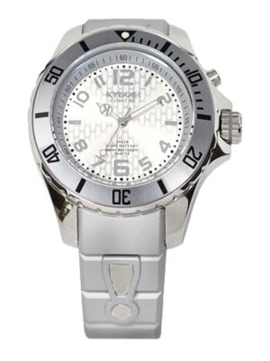 KYBOE! Power Silver Silicone & Stainless Steel Strap Watch/48Mm