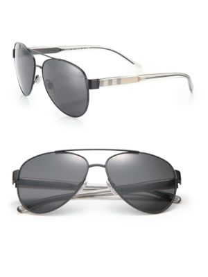 Pilot Double Bridge Metal Sunglasses by Burberry