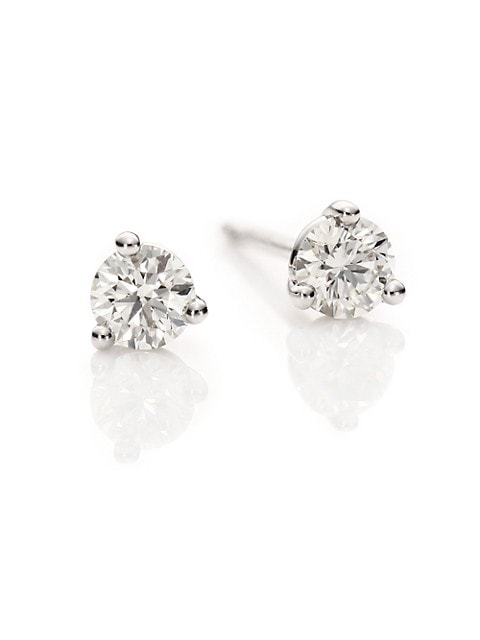Diamond & 18K White Gold Three-Prong Stud Earrings