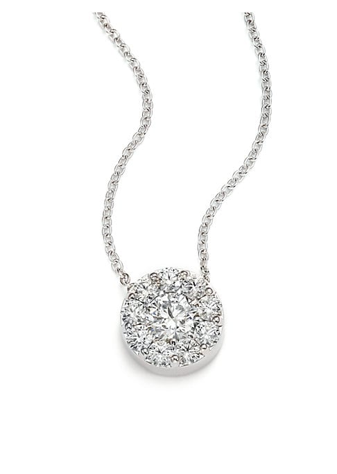"""Image of From the Fulfillment Collection. Halo diamond pendant on delicate white gold chain. Diamond, 1.45-1.55 tcw. Diamond color, IJ. Diamond clarity, VS-SI.18K white gold. Lobster clasp. Made in USA. SIZE. Length, about 18"""".Pendant length, about 0.87""""."""