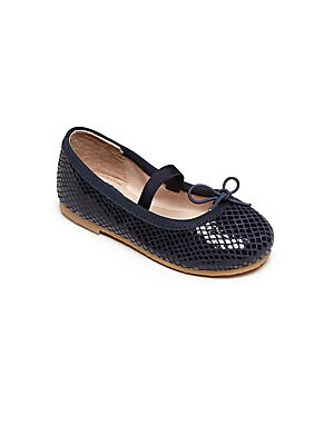 Image of Classic flats in snake-embossed leather Elasticized strap Embossed leather upper Bow detail Leather lining Rubber sole Padded insole Imported. Children's Wear - Children's Shoes > Saks Fifth Avenue. Bloch. Color: Navy. Size: 21 EUR/ 5 US (Toddler).