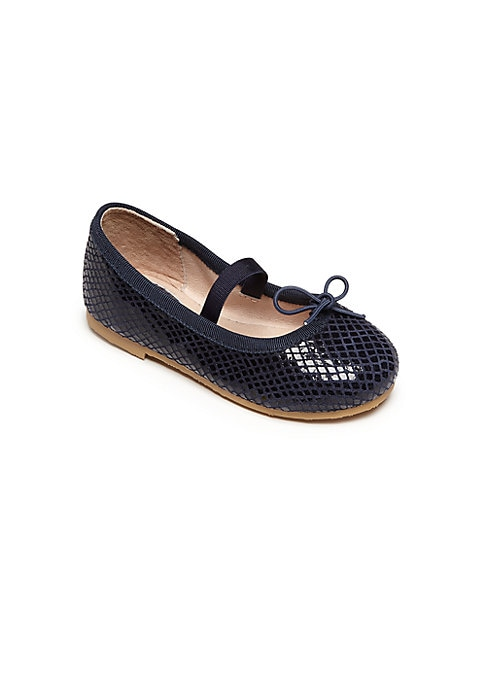 Image of Classic flats in snake-embossed leather. Elasticized strap. Embossed leather upper. Bow detail. Leather lining. Rubber sole. Padded insole. Imported.