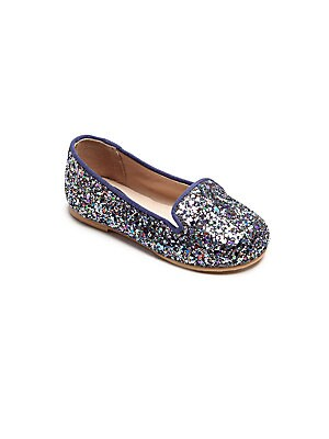 Image of Easy slip-on flats shimmer in glitter finish Slip-on style Glitter fabric upper Leather lining Leather and rubber sole Padded insole Imported. Children's Wear - Children's Shoes > Saks Fifth Avenue. Bloch. Size: 21 EUR/ 5 US (Toddler).