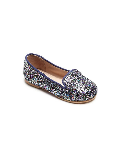 Image of Easy slip-on flats shimmer in glitter finish. Slip-on style. Glitter fabric upper. Leather lining. Leather and rubber sole. Padded insole. Imported.