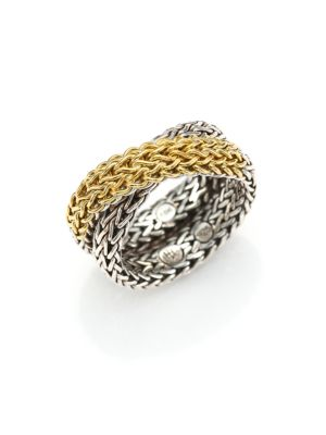 John Hardy Classic Chain 18k Yellow Gold Sterling Silver Ring