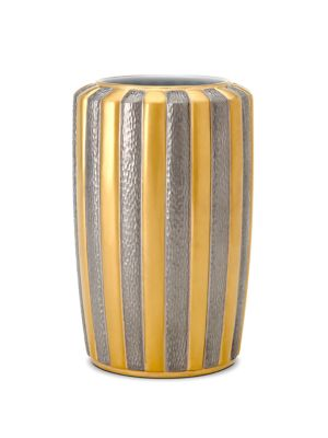 """Image of Handmade vase in ray-like design with stone accent.5.5""""D x 10""""H.Limoges porcelain.24K yellow gold. Semiprecious cabochon. Dust with soft cloth. Imported."""