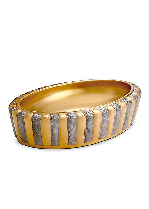 """Image of Handmade dish in gleaming ray-like design. Limoges porcelain.24K yellow gold.8""""L x 5""""W x 2""""H.Dust with soft cloth. Imported."""
