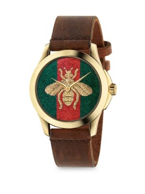 G Timeless Embroidered Bee Goldtone Stainless Steel and Leather Strap Watch