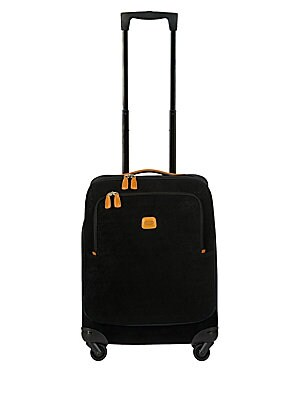 "Image of A classic, comprehensive, elegant accessory that looks good and travels even better One retractable locking handle Top grip handle Zip closure One outside zip pocket 360-degree four wheel movement One inside zip pocket PVC-coated cotton Trim: Leather 15""W"