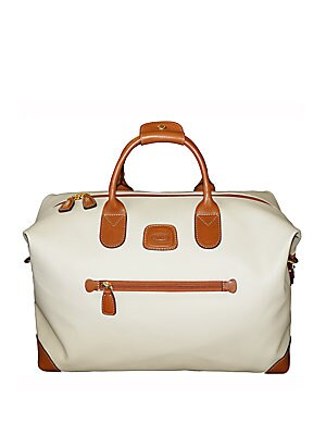 "Image of A trusted accessory for your next getaway or overnight stay. Double top handles Zip closure Outsidefront zip pocket Inside zip pocket PVC Trim: Leather 18""W X 12""H X 8""D Imported. Men Accessories - Travel Goods. Bric's. Color: Cream."