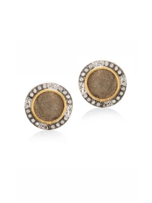 COOMI SILVER Coin Diamond, 20K Yellow Gold & Sterling Silver Stud Earrings in Silver Gold