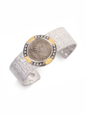 COOMI SILVER Coin Diamond, 20K Yellow Gold & Sterling Silver Cuff Bracelet in Silver-Gold