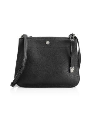 Milky Way Odessa Leather Crossbody Bag, Black