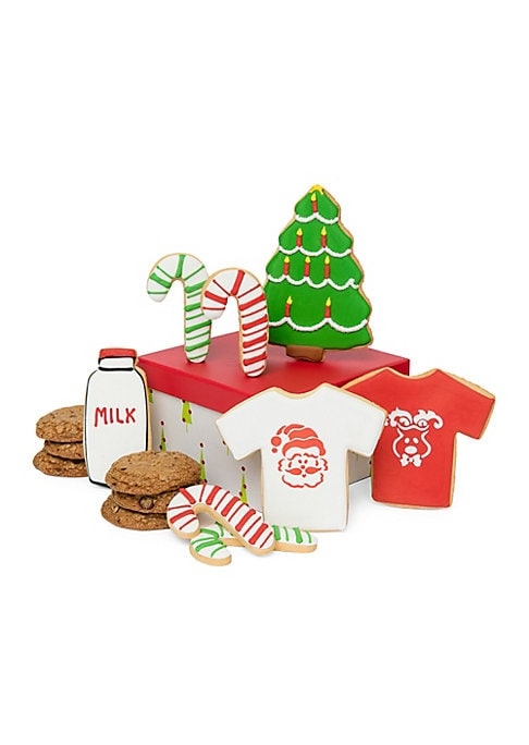 Image of Sweet set inspired by Santa's storied love of cookies. Eight chocolate chip cookies. Includes:1 christmas tree, 1 santa T-shirt, 1 reindeer T-shirt, 4 candy canes, 1 bottle of milk, 6 chocolate chip Cookies. Packaged in decorative box with ribbon. Serving