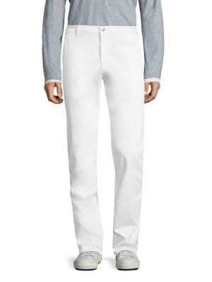 "Image of Classic straight leg trousers made from cotton blend. Belt loops. Zip fly with button closure. Slash pockets. Back welt pocket. Rise, about 15"".Inseam, about 33"".Cotton/polyurethane. Machine wash. Imported."