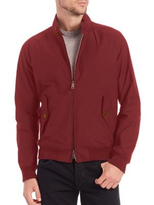 """Image of Relaxed bomber-style jacket for all-season comfort. Water-resistant. Stand collar with button detail. Long sleeves. Zip front. Waist buttoned flap pockets. Ribbed cuffs and hem. Lined. About 32"""" from shoulder to hem. Polyester. Machine wash. Imported."""
