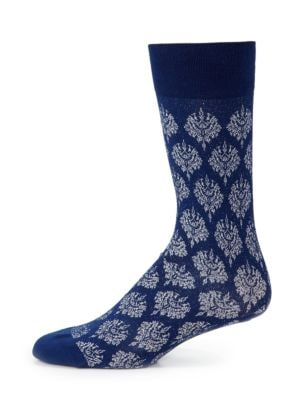 """Image of Socks with an ornate and glittering brocade pattern. Mid-calf height. Length, 19"""".Cotton/nylon/polyester/spandex. Machine wash. Made in Italy."""