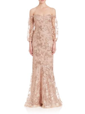 Off-The-Shoulder Sequin Lace Gown