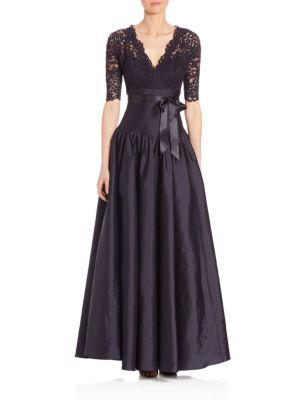 Lace & Taffeta V-Neck Ball Gown