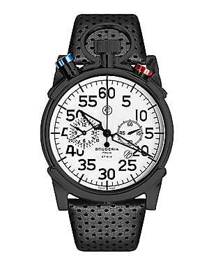 "Image of A timepiece reflecting the world of elite sport racing From the Corsa Collection Quartz movement Water resistant to 10ATM IP stainless steel case: 44mm (1.73"") Chronograph dial Second hand Leather strap bracelet Imported. Men Accessories - Watches And Gif"