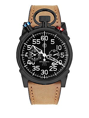 "Image of A striking timepiece, representing the world of elite sport racing From the Corsa Collection Quartz movement Water resistant to 10ATM IP stainless steel case: 44mm (1.73"") Chronograph dial Second hand Leather strap bracelet Imported. Men Accessories - Wat"