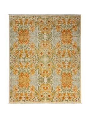 "Image of Handmade wool rug with colorful floral design.97""W X 118""L.Wool. Dry clean. Imported."