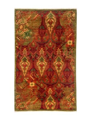 "Image of Handmade rug with colorful, eye-catching motif.37""W X 60""L.Wool. Dry clean. Imported."