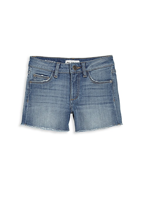 Image of Classic jean shorts with raw edges. Belt loops. Zip fly with button closure. Five-pocket style. Frayed hems. Cotton/promodal/elastane. Machine wash. Imported.