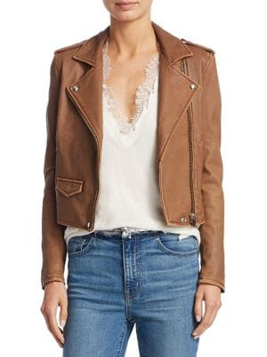 Ashville Leather Moto Jacket in Cappuccino