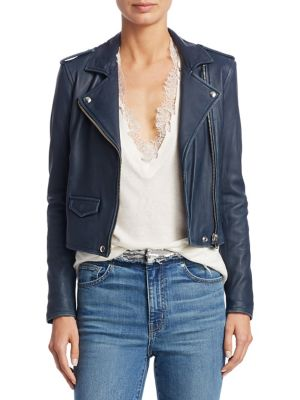 Ashville Leather Moto Jacket in Industrial Blue