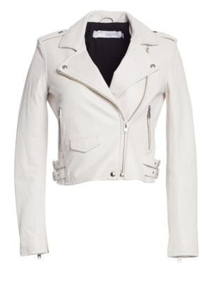 Ashville Leather Moto Jacket in Pearly White