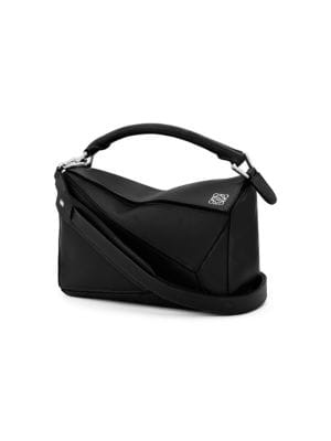 Ladies Black Puzzle Leather Shoulder Bag